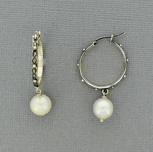 Oxidized Silver Hoops with an organic design and white Pearl