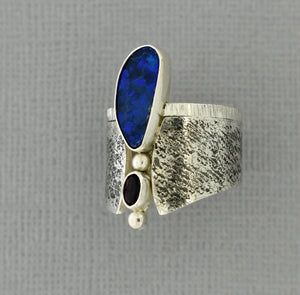 Offset Blue Opal Ring