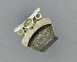 Peridot Ring in Oxidized Sterling Silver