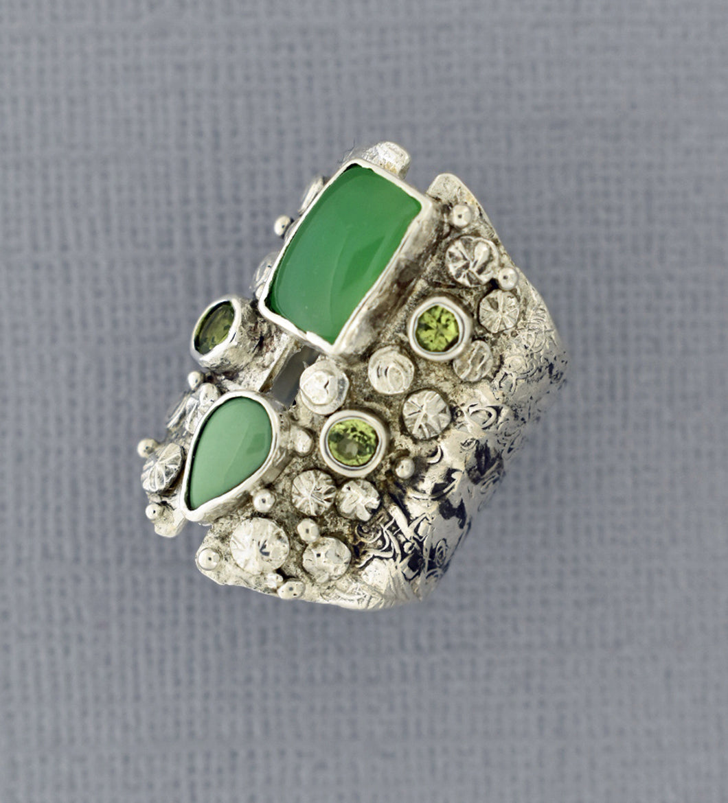 Long Chrysoprase Silver Ring
