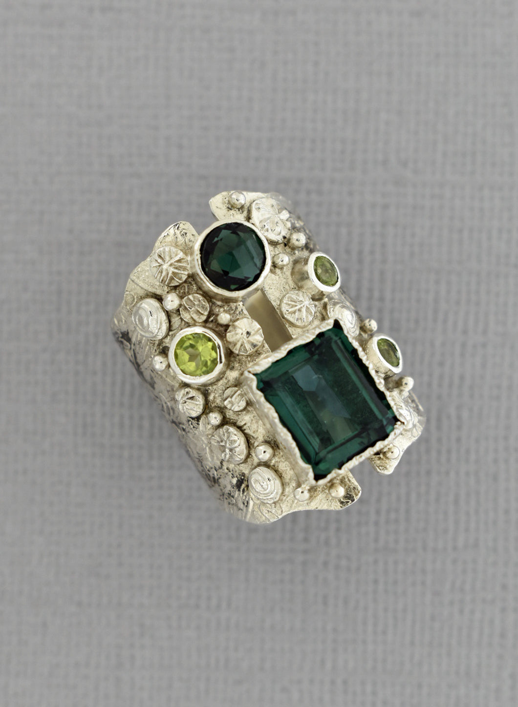Long Green Quartz Ring in Oxidized Sterling Silver