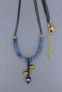 Oxidized Chain Necklace with Leaf Pendant