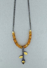 Load image into Gallery viewer, Oxidized Chain Necklace with Leaf Pendant