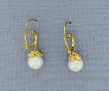 Load image into Gallery viewer, Spiral Pearl Hoops in Silver and Vermeil