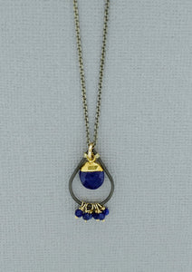 Lapis Necklace with Oxidized Chain
