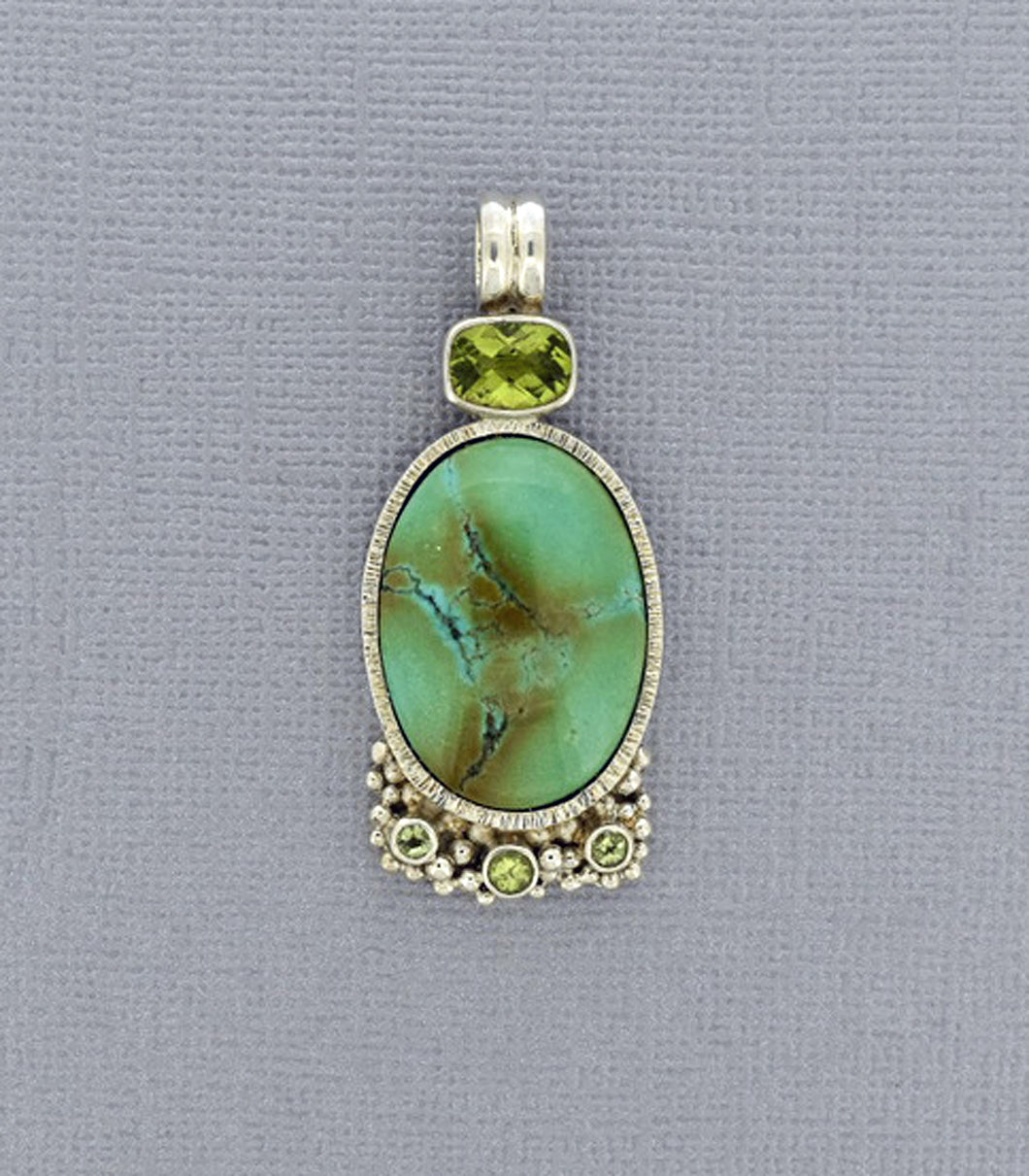 Green Turquoise Pendant with Peridot Accents