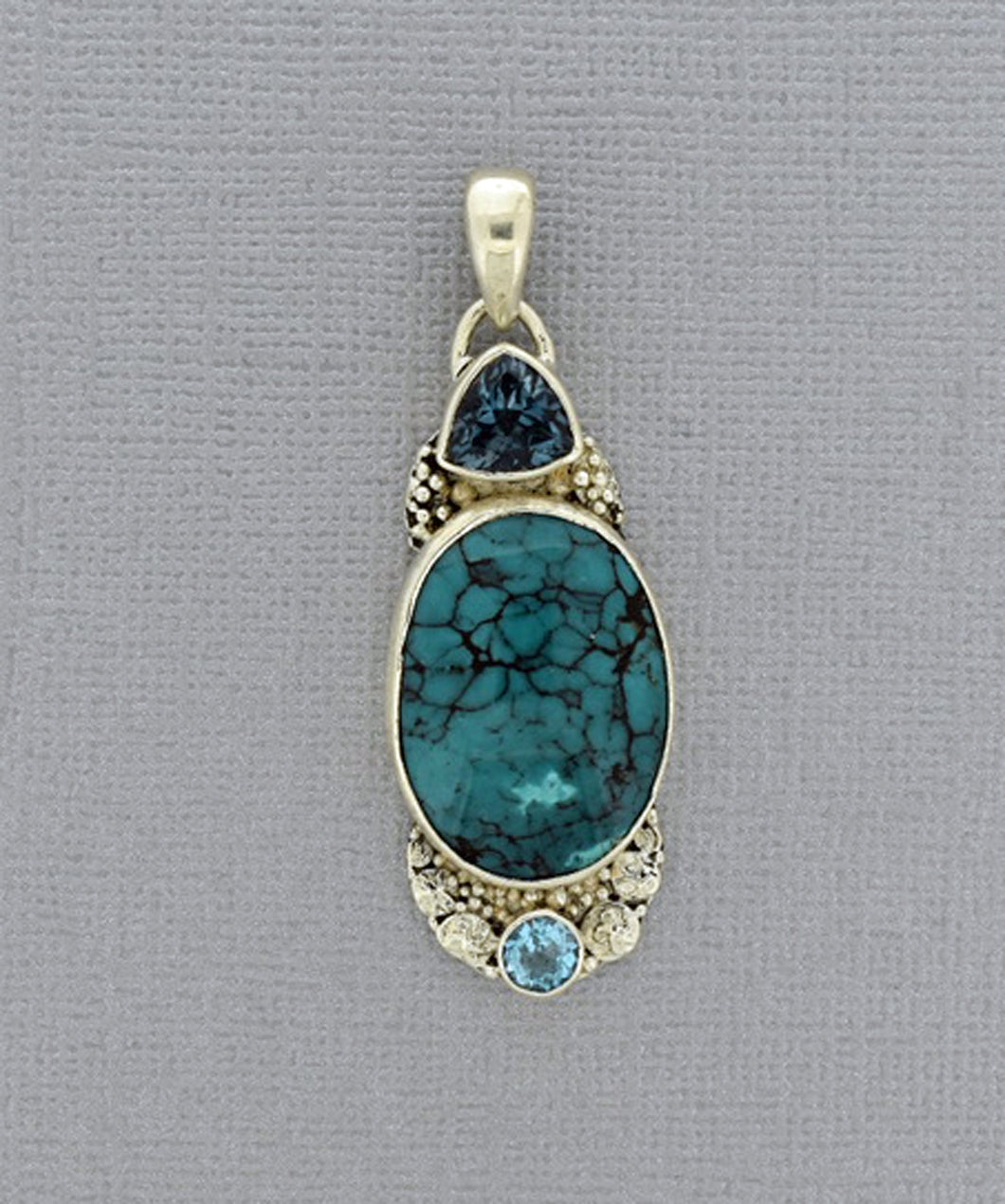 Turquoise Pendant in Sterling Silver with London Blue Topaz