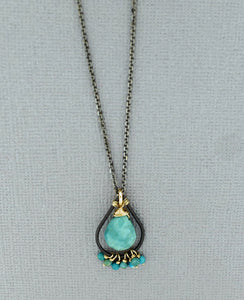 Oxidized Sterling Silver Turquoise Necklace