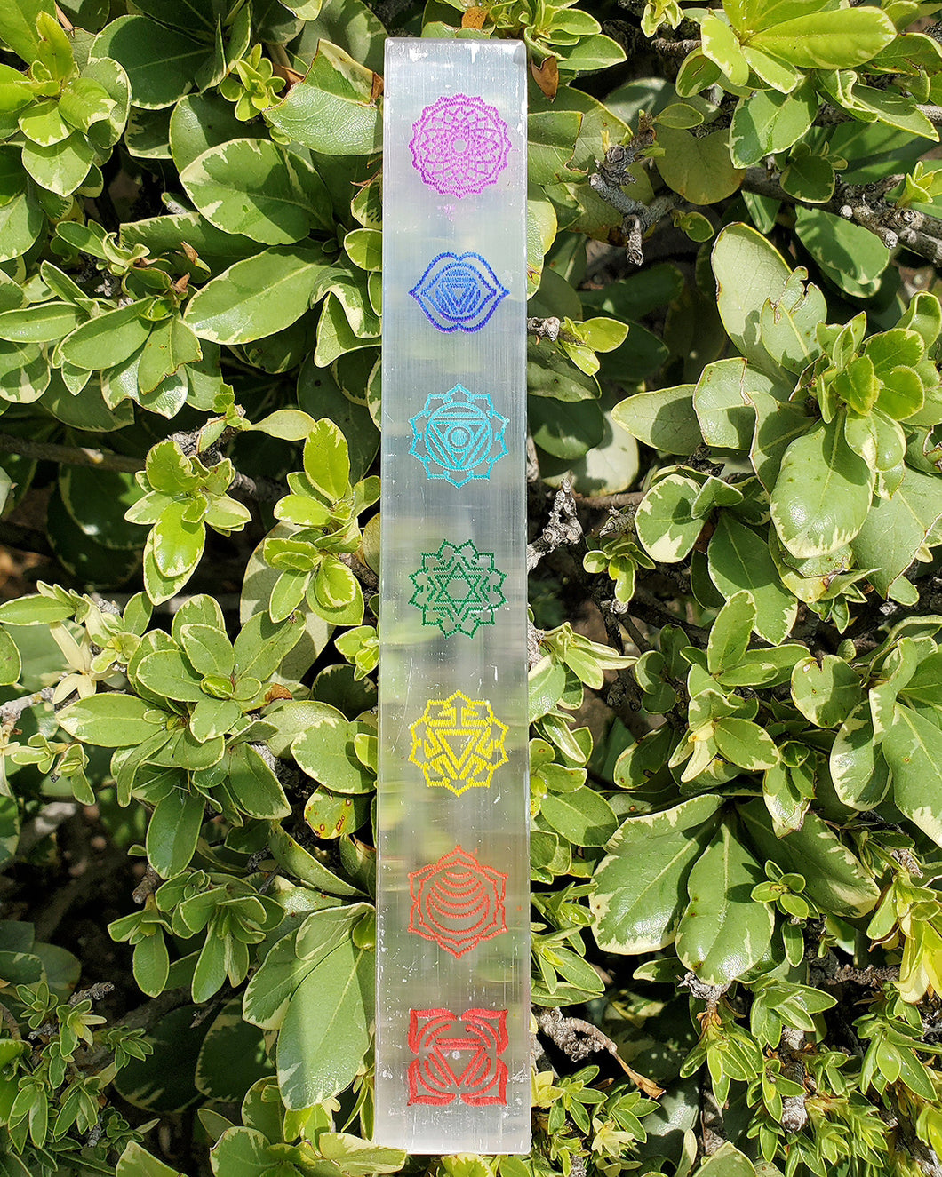 Selenite 7 Chakra Colorful Charging Wand