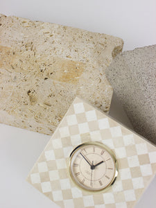 Checkered Stone Clock by Oggetti