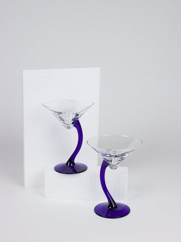 Blue Stem Martini Glass Set