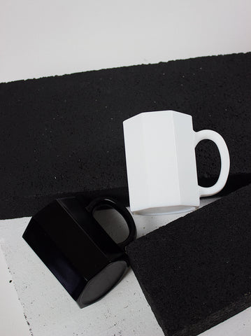 Octime Black + White Glass Mugs