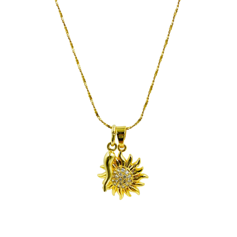 Gold Cornicello and Sunburst Charm Necklace | Bella Luck Charms