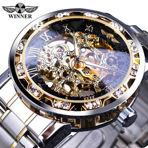 Golden Watches Classic Rhinestone Watch