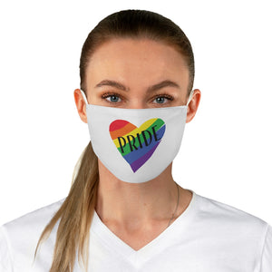 PRIDE Rainbow Heart White Fabric Face Mask - trendybyjoey,.com