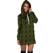 Load image into Gallery viewer, Thge Shufflez Women's Hoodie Dress (Neon Yellow on Black) - trendybyjoey,.com