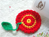 "NEW! BUNC01  ""Garden Pretty"" 3D Charmed Crochet Coaster Set of 4"