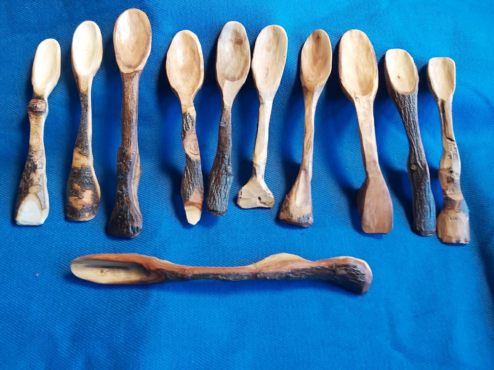 Hand-carved pear-wood spoons