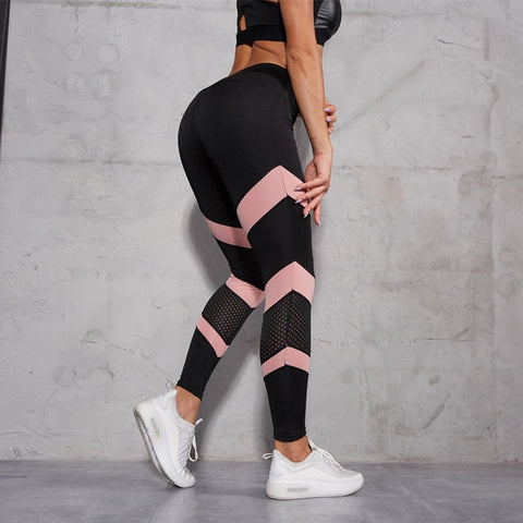 Patchwork Hollow Out Leggings