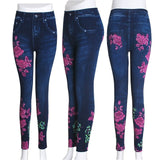 Plus Size Fashion Faux Denim Jeans Leggings