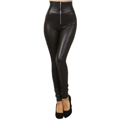 Winter Faux Leather Leggings with Zipper