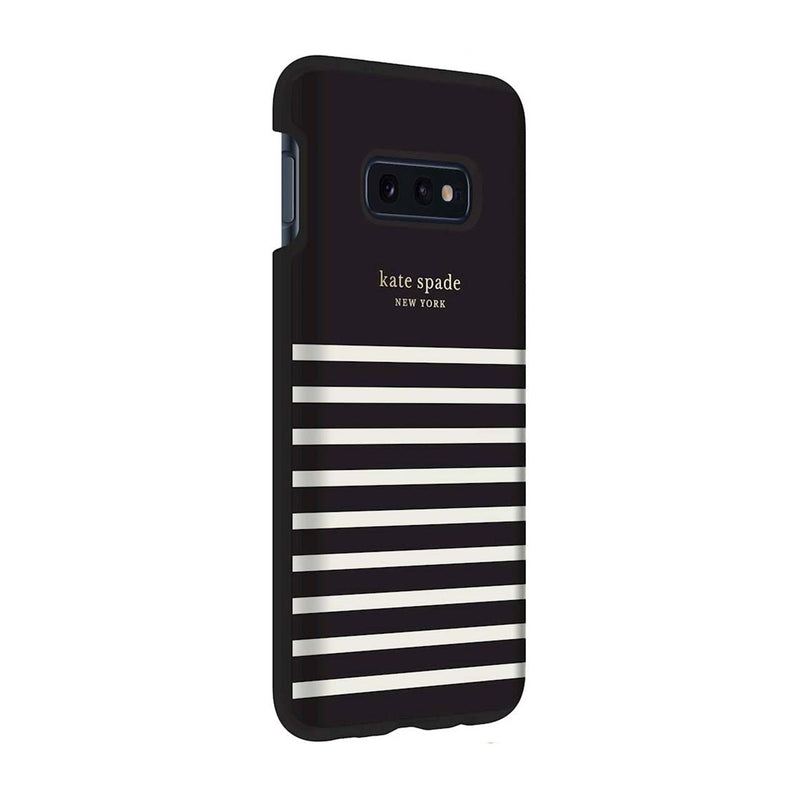 Kate Spade New York Protective Hardshell Samsung Galaxy S10e- Stripe Black/Cream/Gold