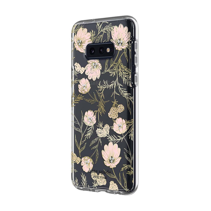 Kate Spade New York Protective Hardshell Samsung Galaxy S10e - Blossom Pink/Gold with Gems