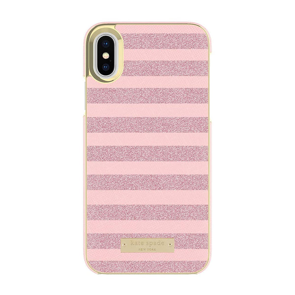 Kate Spade New York iPhone X Wrap Case - Glitter Stripe Rose Quartz Saffiano/Rose Gold Glitter
