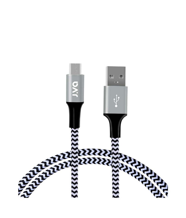 J.VA Tech Micro USB 1.0m, Braided Charging & Data Cable Black