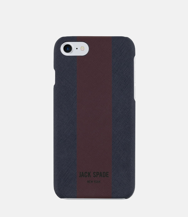 Jack Spade iPhone 7 Snap Case - Racing Stripe Navy Barrow/Burgundy