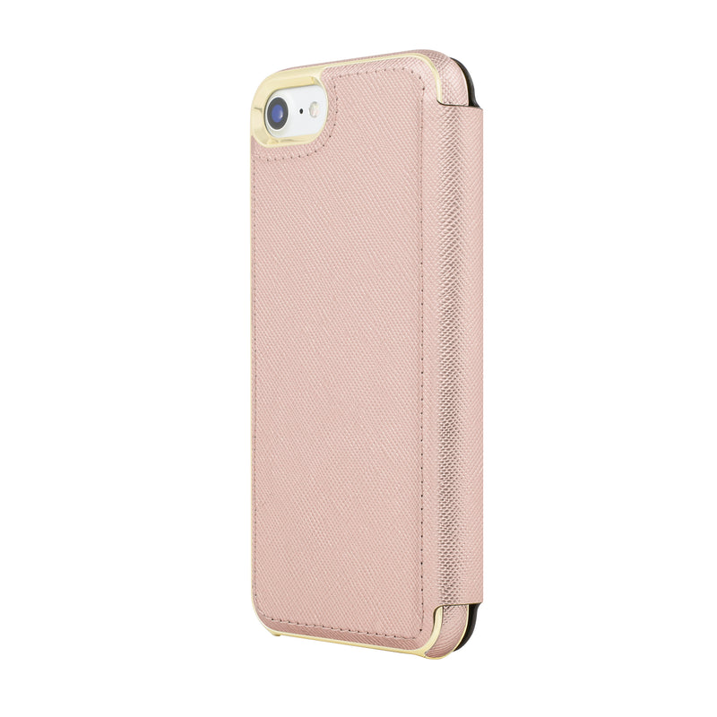 Kate Spade New York iPhone 7 Folio Case - Saffiano Rose Gold/Gold Logo Plate