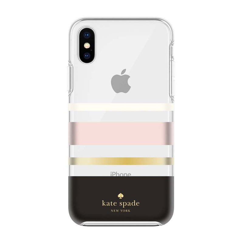 Kate Spade New York iPhone X Protective Hardshell Case - Charlotte Stripe Black/Cream/Blush