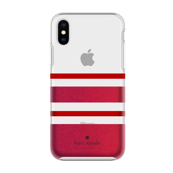 Kate Spade New York iPhone X Protective Hardshell Case - Charlotte Stripe Red/Red Glitter