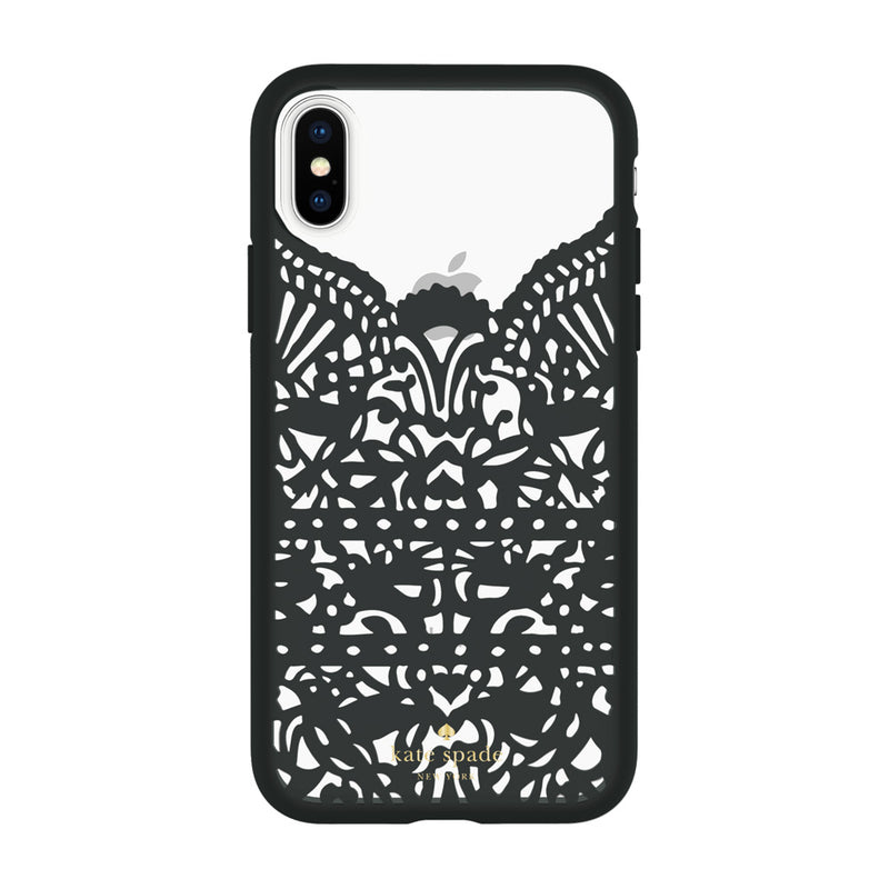 Kate Spade New York iPhone X Protective Hardshell Case - Lace Hummingbird Black/Clear