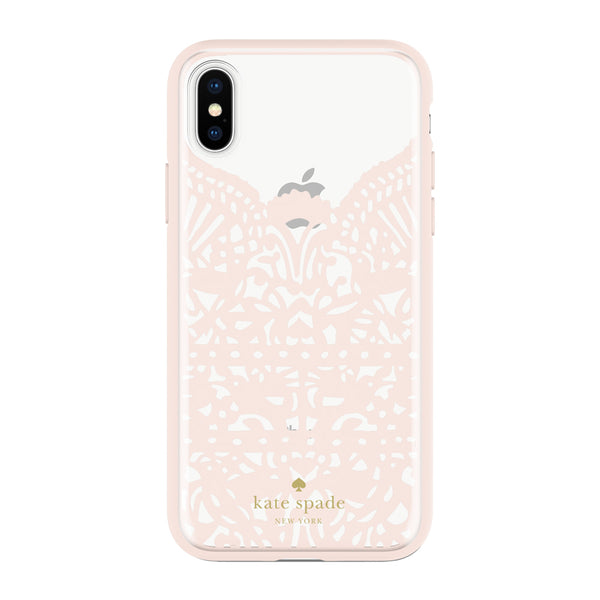 Kate Spade New York iPhone X Protective Hardshell Case - Lace Hummingbird Blush/Clear