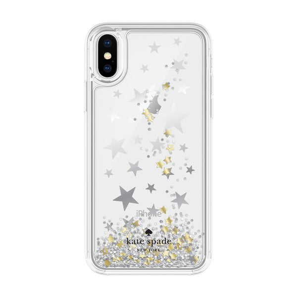 Kate Spade New York iPhone X Protective Hardshell Case - Stars Silver Foil/Gold Foil/Star Confetti Silver Glitter