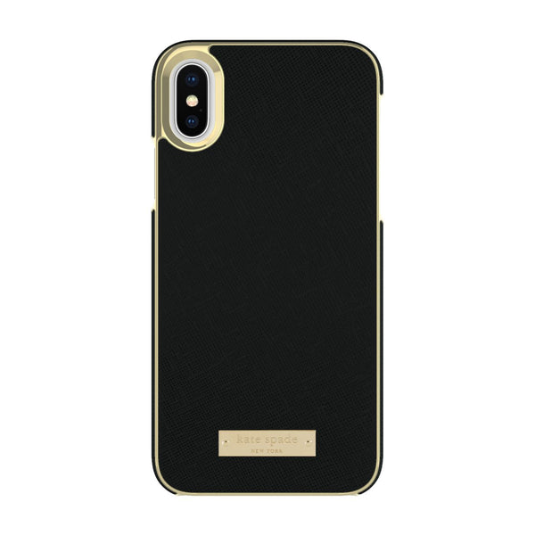 Kate Spade New York iPhone X Wrap Case - Saffiano Black/Gold Logo Plate