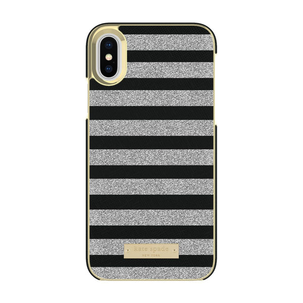 Kate Spade New York iPhone X Wrap Case - Glitter Stripe Black Saffiano/Silver Glitter