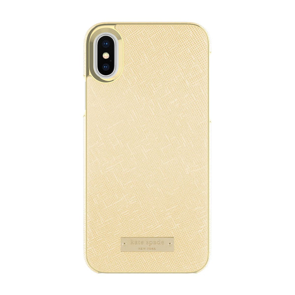 Kate Spade New York iPhone X Wrap Case - Saffiano Gold/Gold Logo Plate