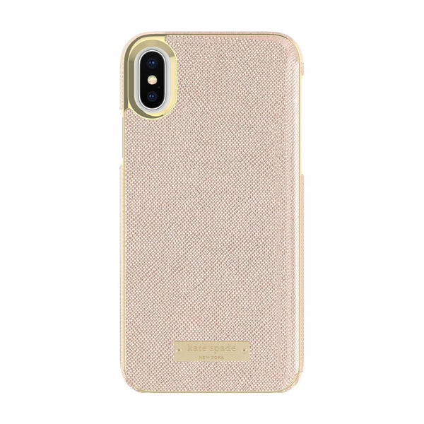 Kate Spade New York iPhone X Wrap Case - Saffiano Rose Gold/Gold Logo Plate