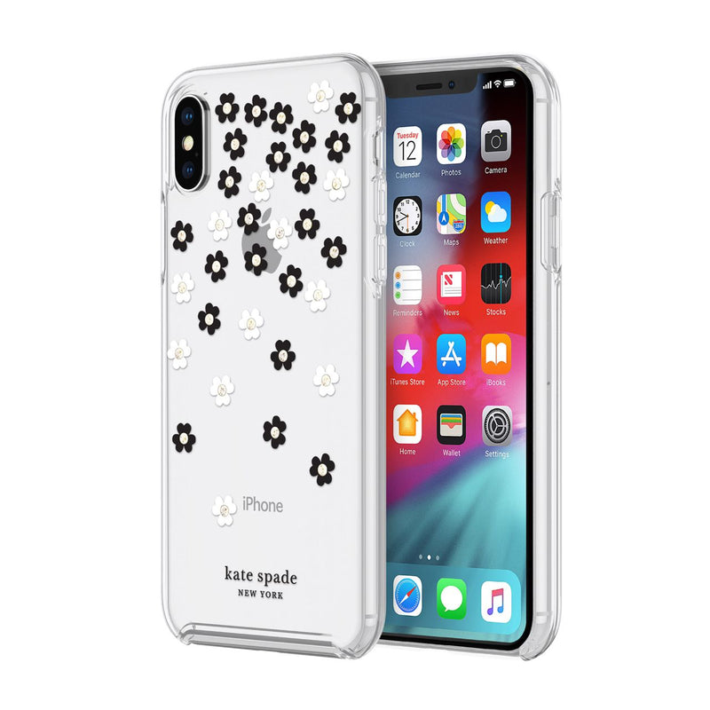Kate Spade New York Protective Hardshell iPhone XS Max - Black/White/Gold Gems/Clear