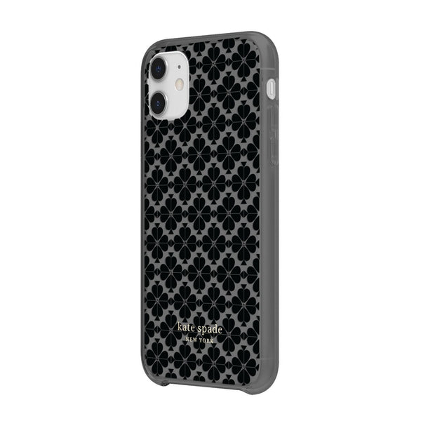 Kate Spade New York Protective Hardshell Case for iPhone 11 Spade Flower tonal black / black metallic / nightfall gems
