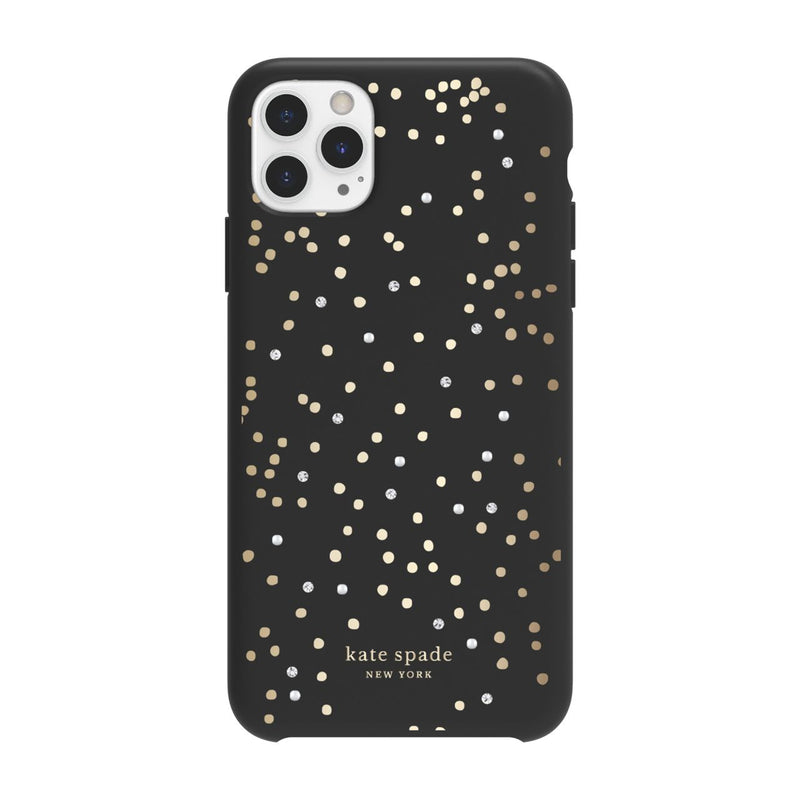 Kate Spade New York Protective Hardshell Case for iPhone 11 Pro Max Soft Touch Disco Dots Black/Gold/Crystal Gems/Pearls
