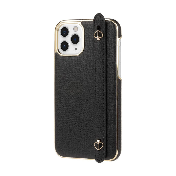 Kate Spade New York Hand Strap Case for iPhone 11 Pro Black Crumbs/Enamel Spade Hardware