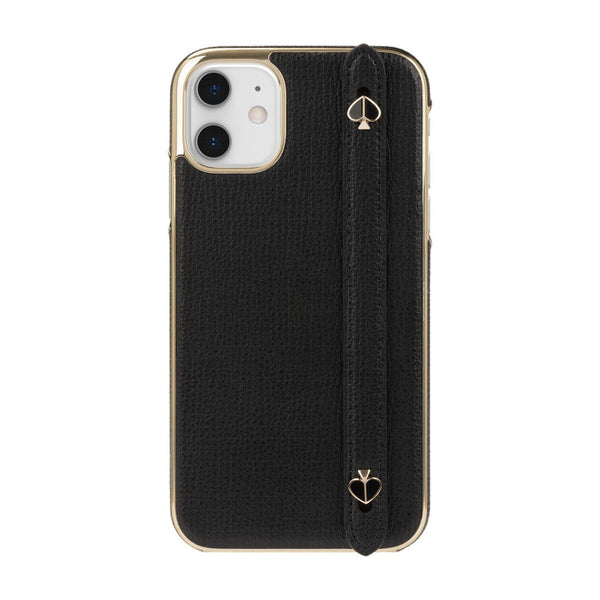 Kate Spade New York Hand Strap Case for iPhone 11 Black Crumbs/Enamel Spade Hardware