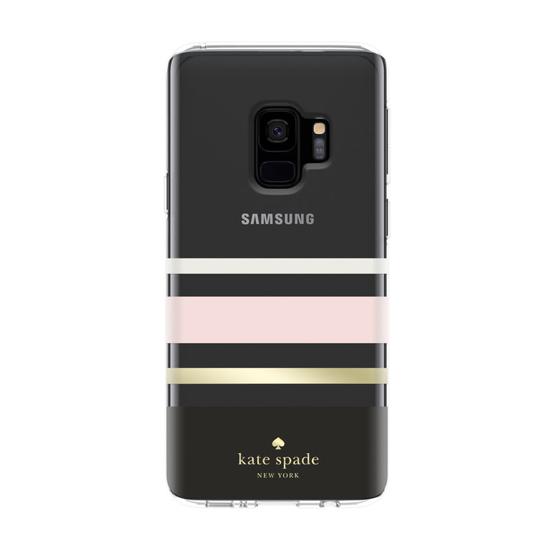 Kate Spade New York Samsung Galaxy S9 Protective Hardshell Case - Charlotte Stripe Black/Cream/Blush