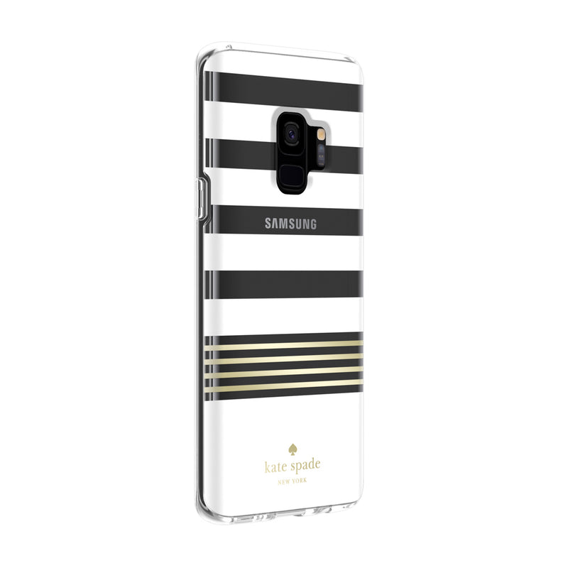 Kate Spade New York Samsung Galaxy S9 - Stripe 2 White/Gold Foil/Clear