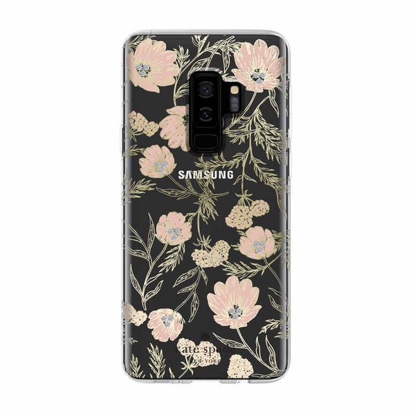 Kate Spade New York Samsung Galaxy S9 Plus - Blossom Pink/Clear/Gold with Stones