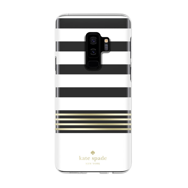 Kate Spade New York Samsung Galaxy S9 Plus - Stripe 2 White/Gold Foil/Clear