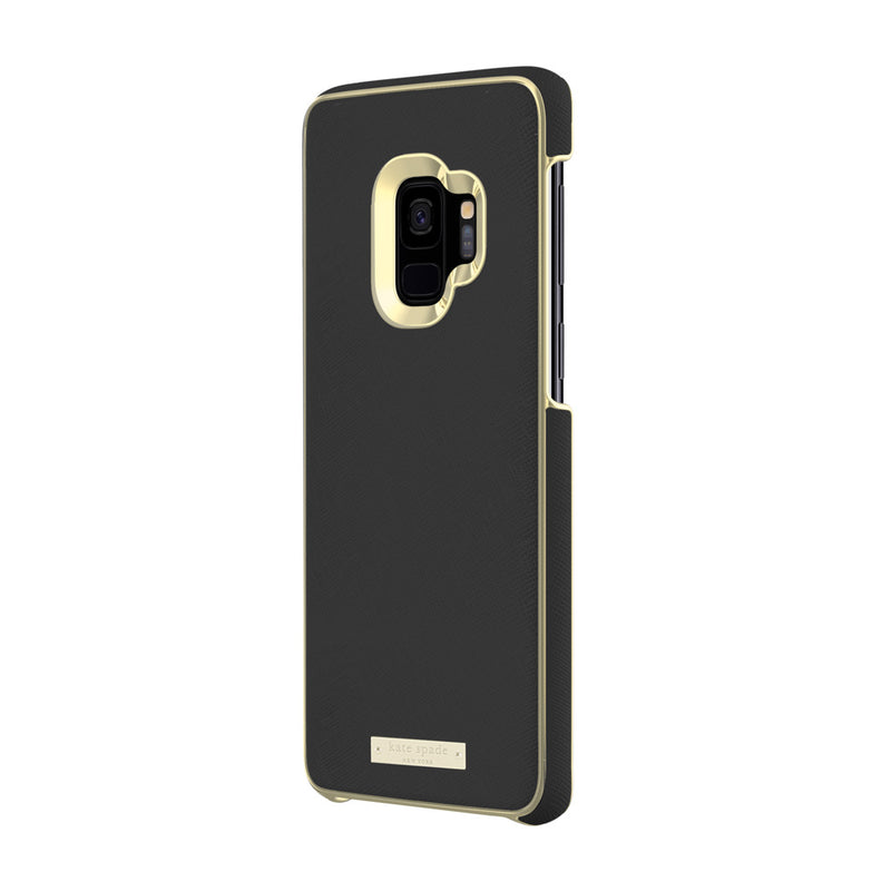 Kate Spade New York Samsung Galaxy S9 - Saffiano Black/Gold Logo Plate